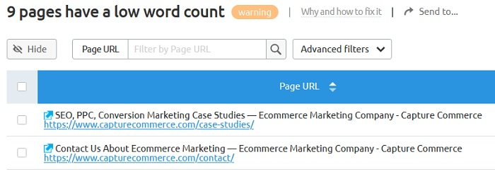SEMrush example of low word count